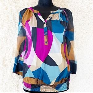 ELLEN TRACY Navy Pink Blue Sheer Pleated Blouse